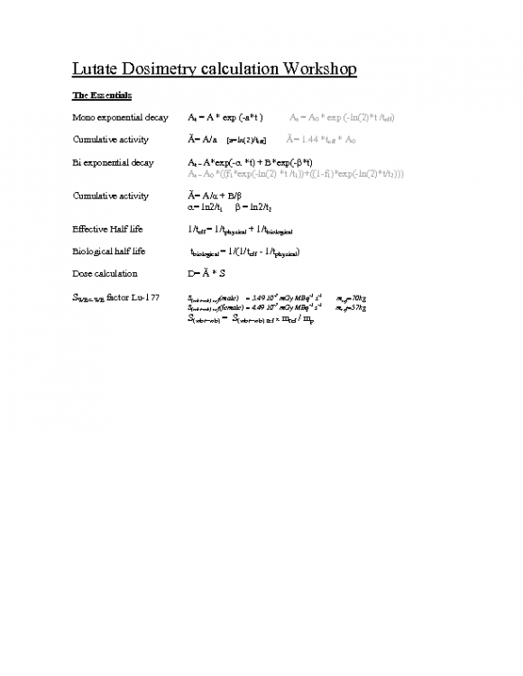 Lutate Dosimetry calculation Workshop